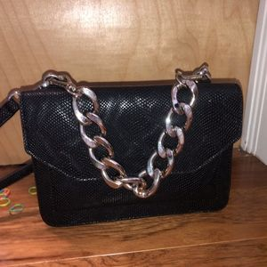 Christian Siriano Black Small Snake skin bag